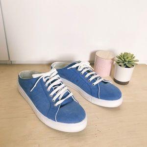 Topshop blue suede sneaker mules 10.5 fit like 9.5